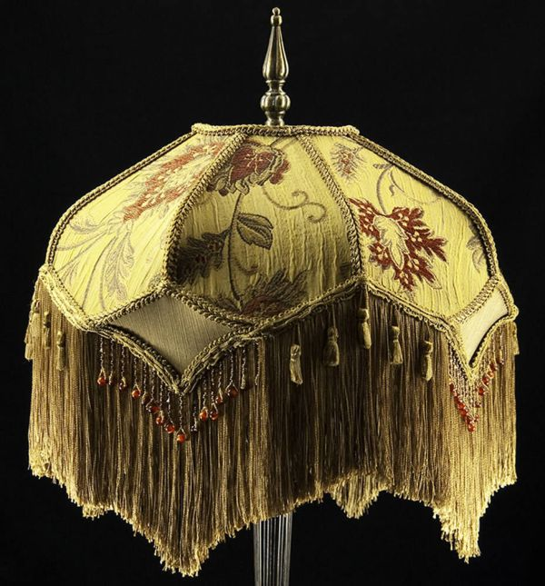 Victorian Lamp Shade Heavy Embroidered Fabric With Gold Silk
