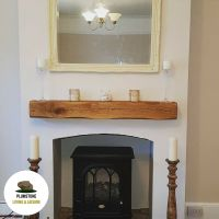 OAK MANTLE FIREPLACE BEAM - Rustic Timber Shelf ...
