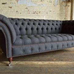 Chesterfield Sofa Buy Uk Canape Definition Sofas Ebay Modern Handmade 3 Seater Charcoal Grey Wool Couch Chair