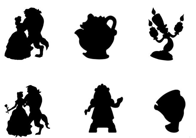 Beauty And The Beast Silhouettes Edible A4 ICING SHEET