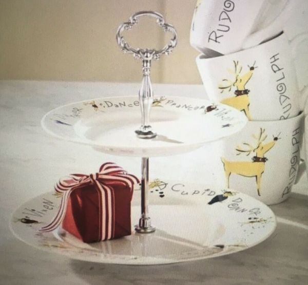Pottery Barn Reindeer 2 -tiered Cookie Tray Plate