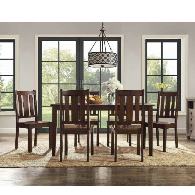 6 chair dining set cheap table and rentals 7 piece chairs classic mission style mocha details about solid wood