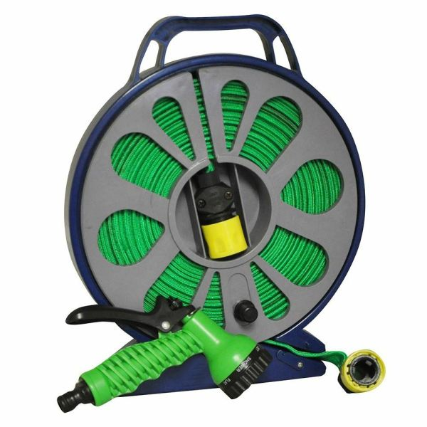 15m Flat Garden Watering Hose Pipe & Reel Spray Nozzle Gun Outdoor Plant Flower