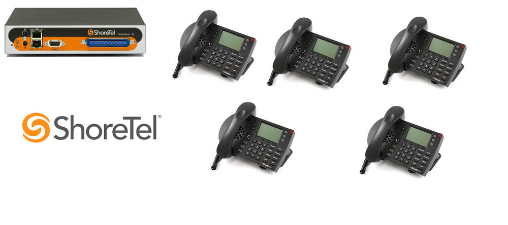 Shoretel 30 KSU VOIP Phone System W/ 5 230 Phones
