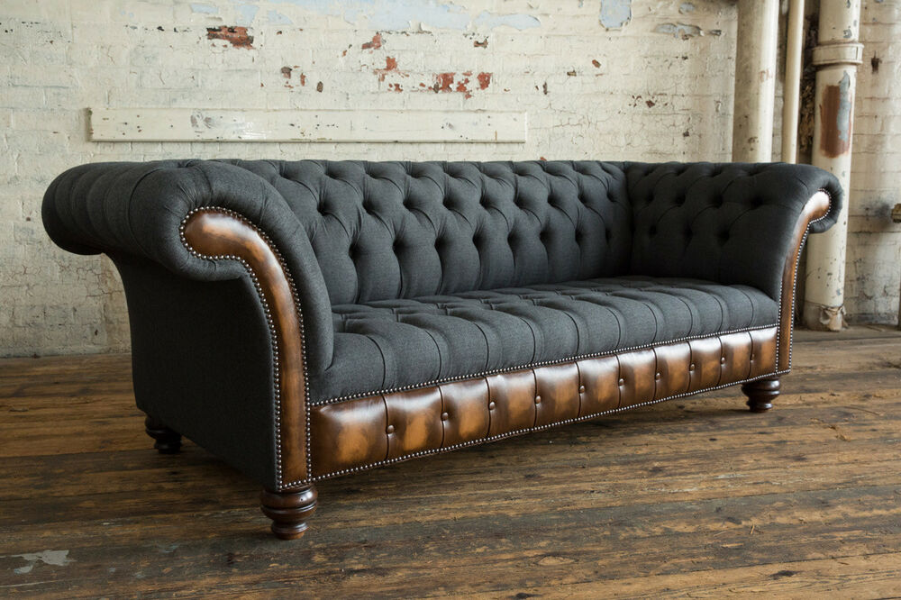 Modern Charcoal Wool Antique Tan Leather 3 Seater