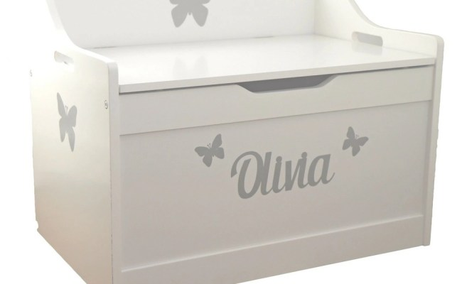 Silver Stickers Personalised White Wooden Toy Box Childs