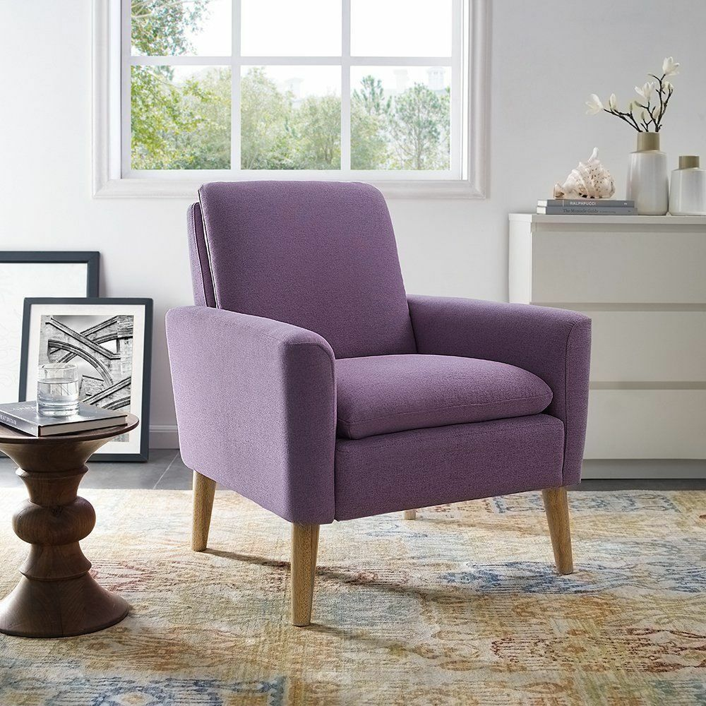 Upholstered Living Room Chairs Arm Chair Single Leisure Sofa Accent Linen Fabric Upholstered Living Room Purple 6902210723783 Ebay