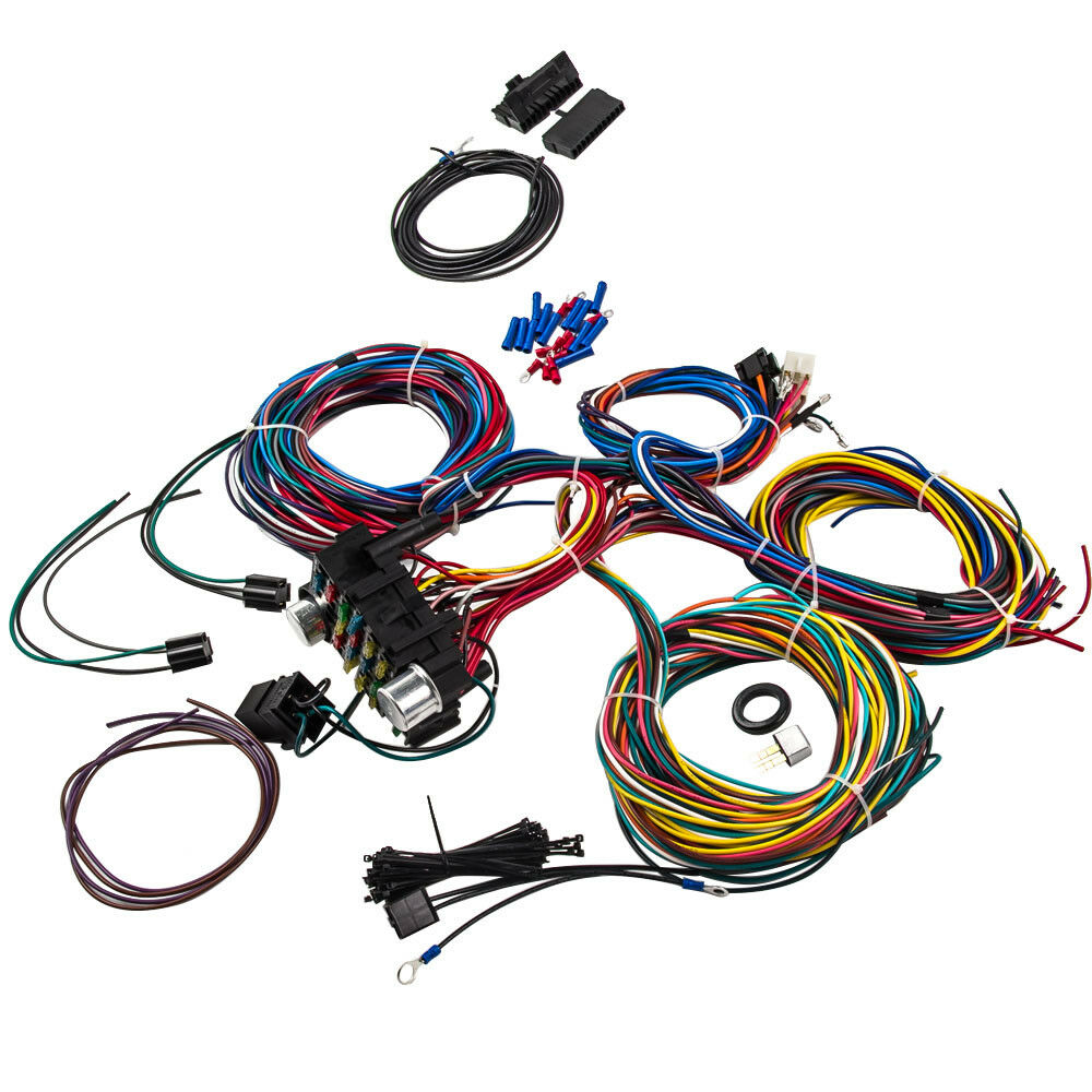 medium resolution of details about wiring harness 21 circuit universal hot rod extra long wires kit for coil acc