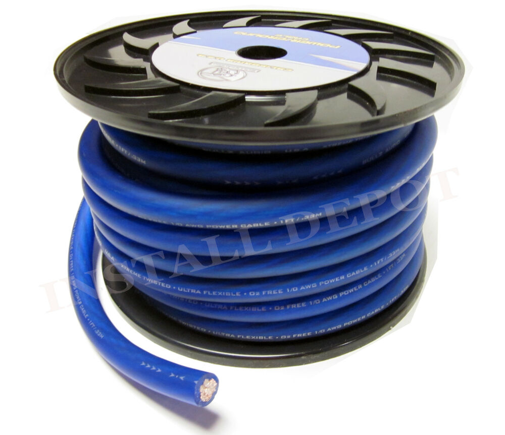 hight resolution of details about 50 ft premium 0 gauge blue power wire ground cable 1 0 awg car audio wiring