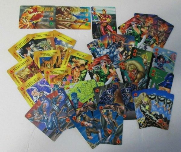 1995 Marvel Overpower Collectible Card Game Lot Of 34