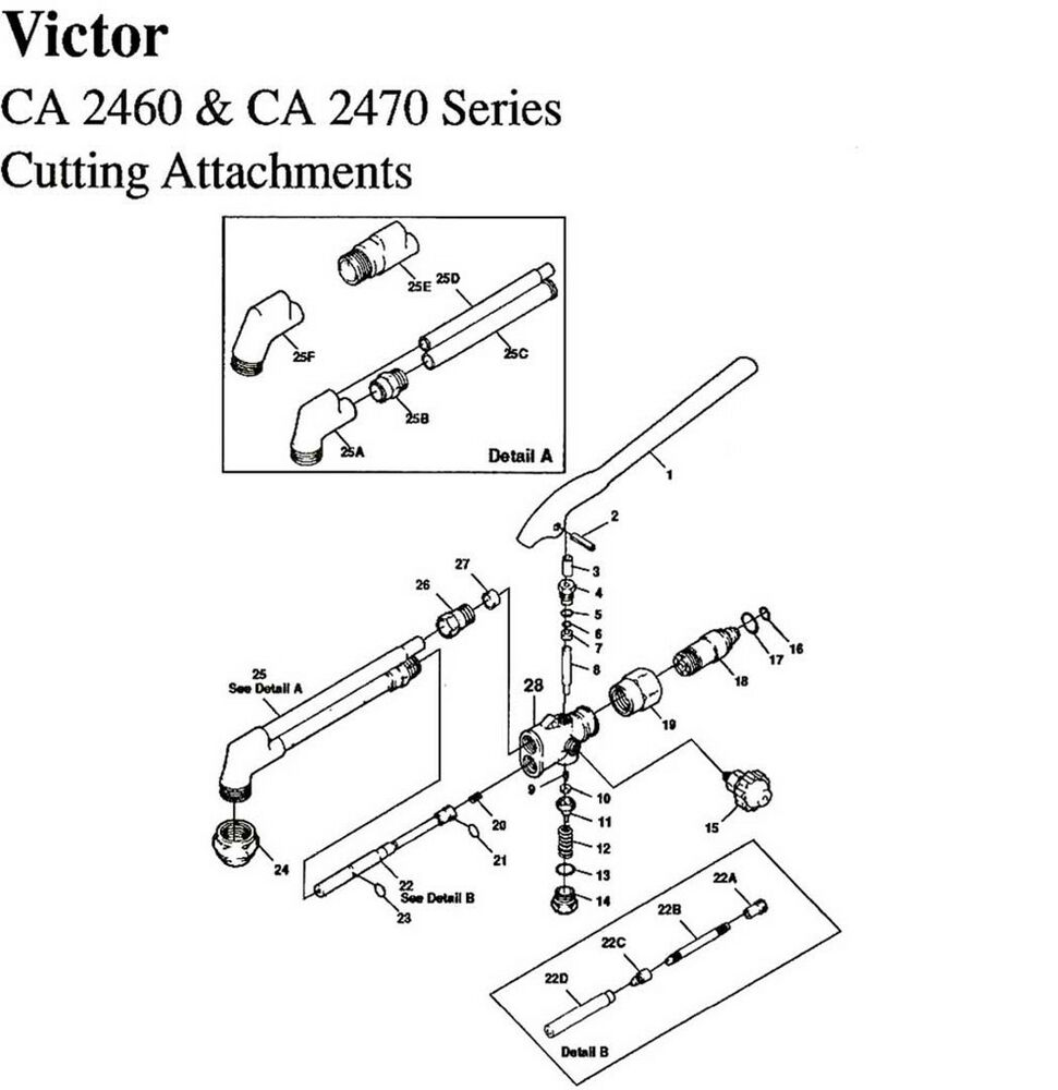 VICTOR CA 2460 2470 CUTTING TORCH BASIC REBUILD REPAIR KIT