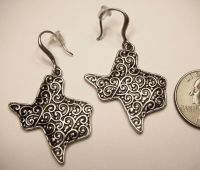 State of Texas Shape Filigree Silver/Black Metal Dangle ...