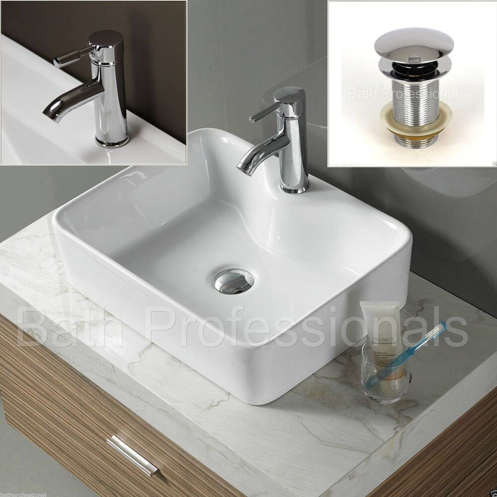 Basin Sink Ceramic Countertop Bathroom Square Cloakroom