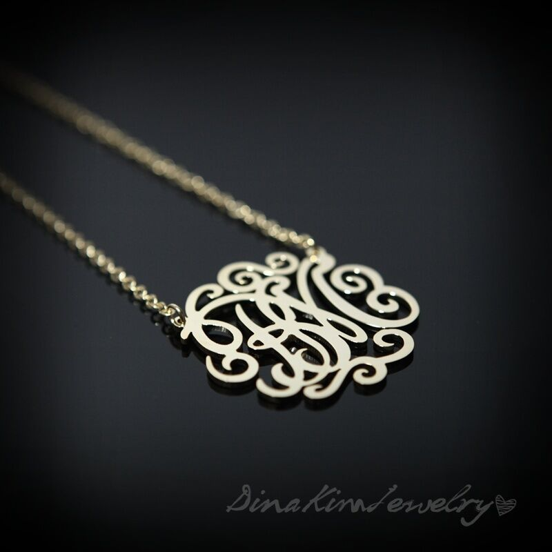 necklace with monogram initials