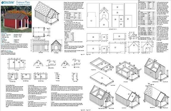 Dog House / Pet Kennel Plans, Gable Roof Style With Porch