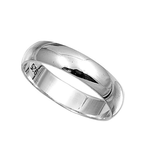 925 Sterling Silver Ring Plain 5mm Wedding Band Jewelry