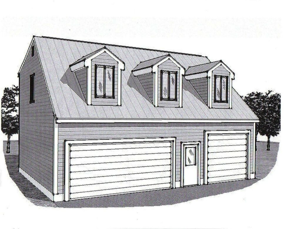 36x28 3 Car Garage Building Plans Dormered Loft & 12x28