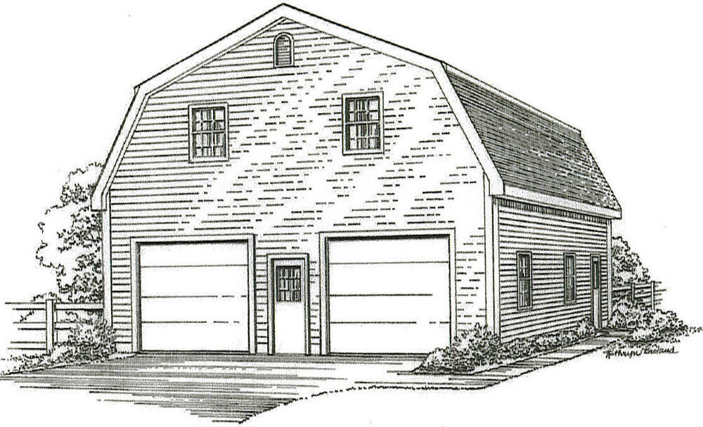 30 x 40 2 Car Gambrel Style Garage Building Plans with