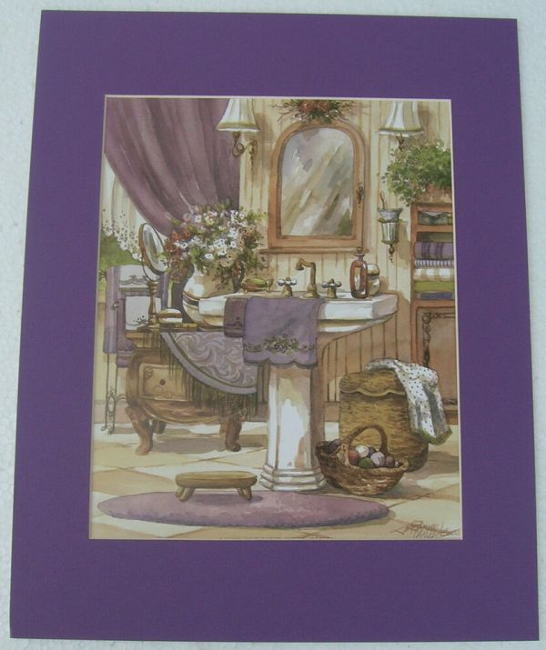 Bathroom Prints Antique Matted Country