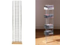 DVD RACK STORAGE TOWER UNIT CHROME WOOD BASE FLOORSTANDING