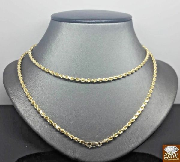 10k Yellow Gold Rope Chain Necklace 24 And 3mm In Stock Ready Ship