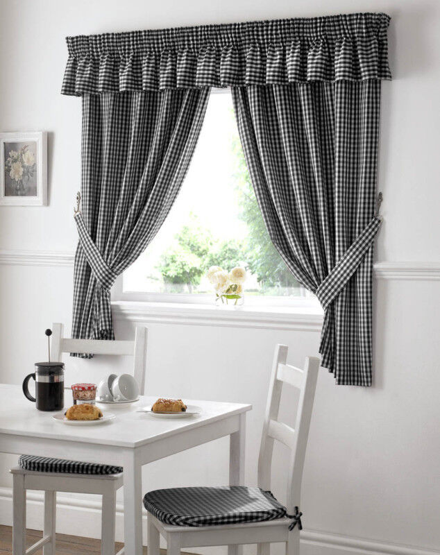 GINGHAM CHECK BLACK WHITE KITCHEN CURTAINS DRAPES W46 X