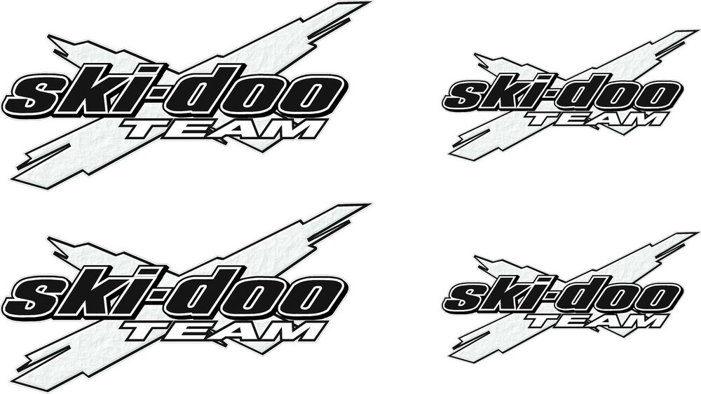 Ski-Doo Logo Decal TEAM X 4pk white vinyl sticker graphic