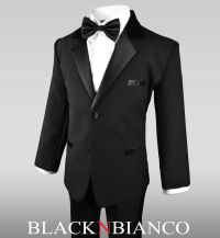 Boy Formal Black Tuxedo for Kids of All Ages With a Black ...