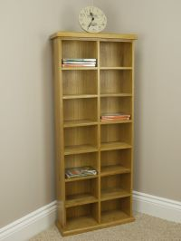 SOLID CHUNKY OAK TALL WIDE DVD / CD STORAGE RACK TOWER ...