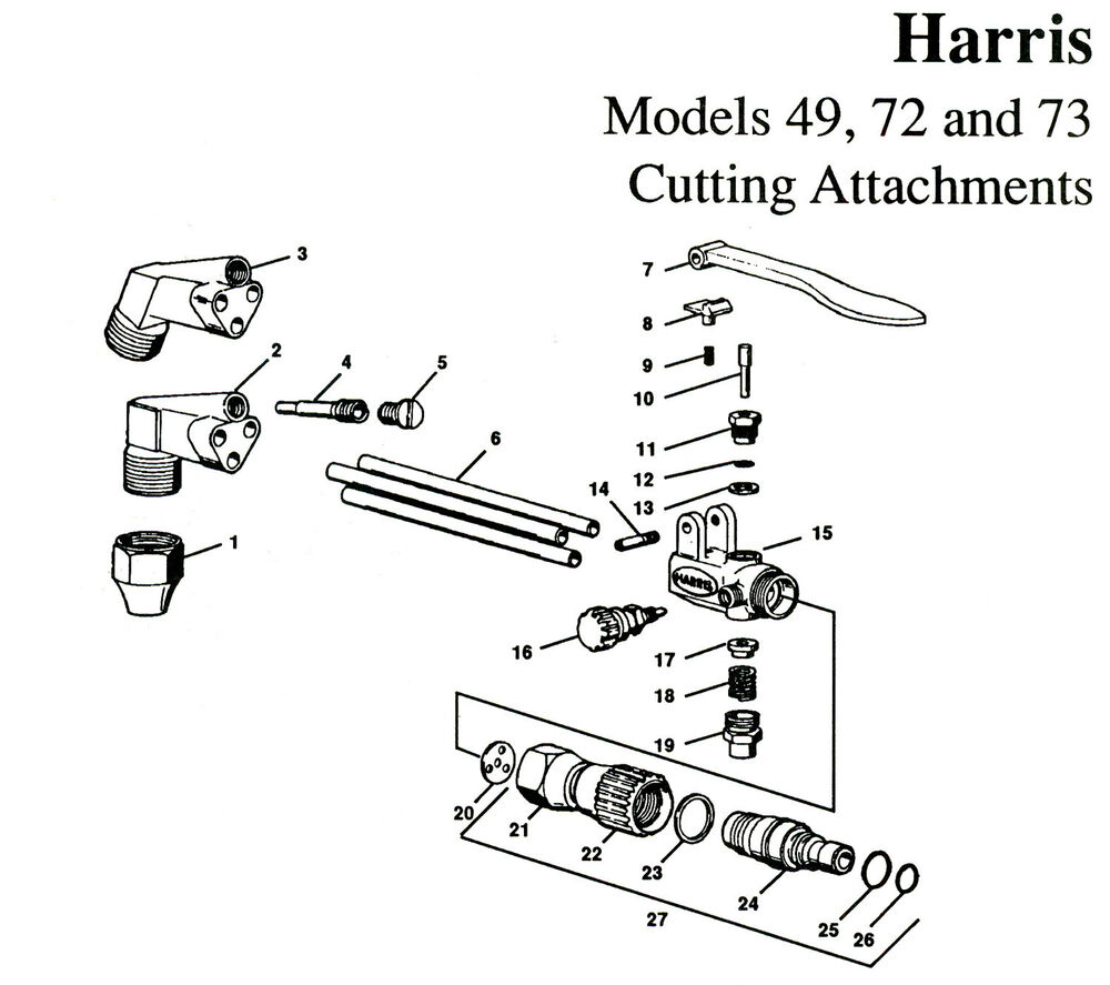 HARRIS MODEL 49, 73 CUTTING TORCH BASIC REBUILD REPAIR KIT