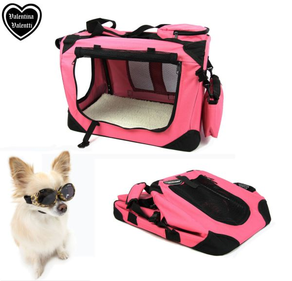 Pink Dog Carrier Folding Crate