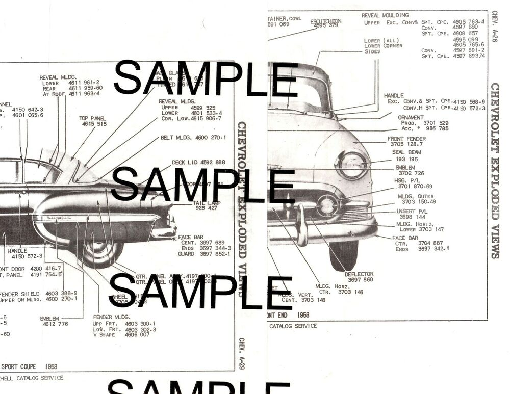 1954 CHEVROLET BEL AIR 210 54 BODY & PANEL DIAGRAMS PARTS