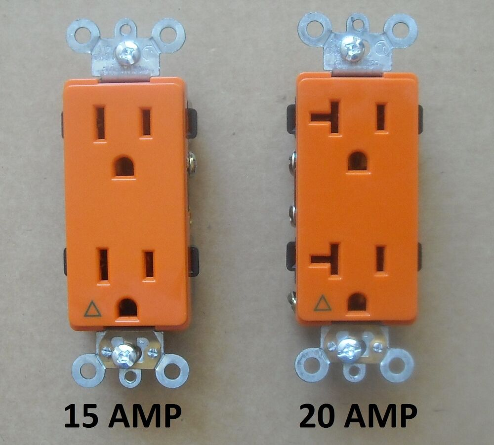 medium resolution of  120v plug decora isolated ground receptacle plug decorative outlet 120v 15a 20a amp orange