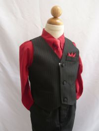 BLACK APPLE RED TODDLER TEEN BOYS SET VEST WITH LONG TIE ...
