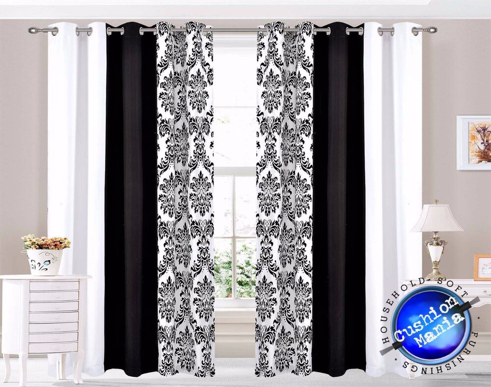 Curtains Eyelet Ring Top Ready Made Lined Fully Pair Black White Damask 3 Tone EBay