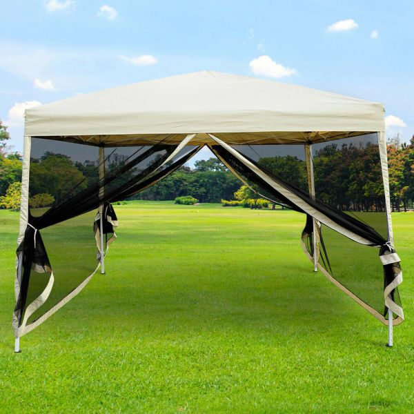10' X Pop Tent Mesh Screen Gazebo Popup Canopy Party Patio Shade - Tan