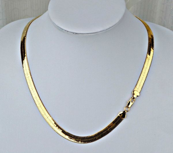 Pvd Bonded 18k Gold Men & Woman 6 Mm Herringbone Chain Necklace -4 Sizes