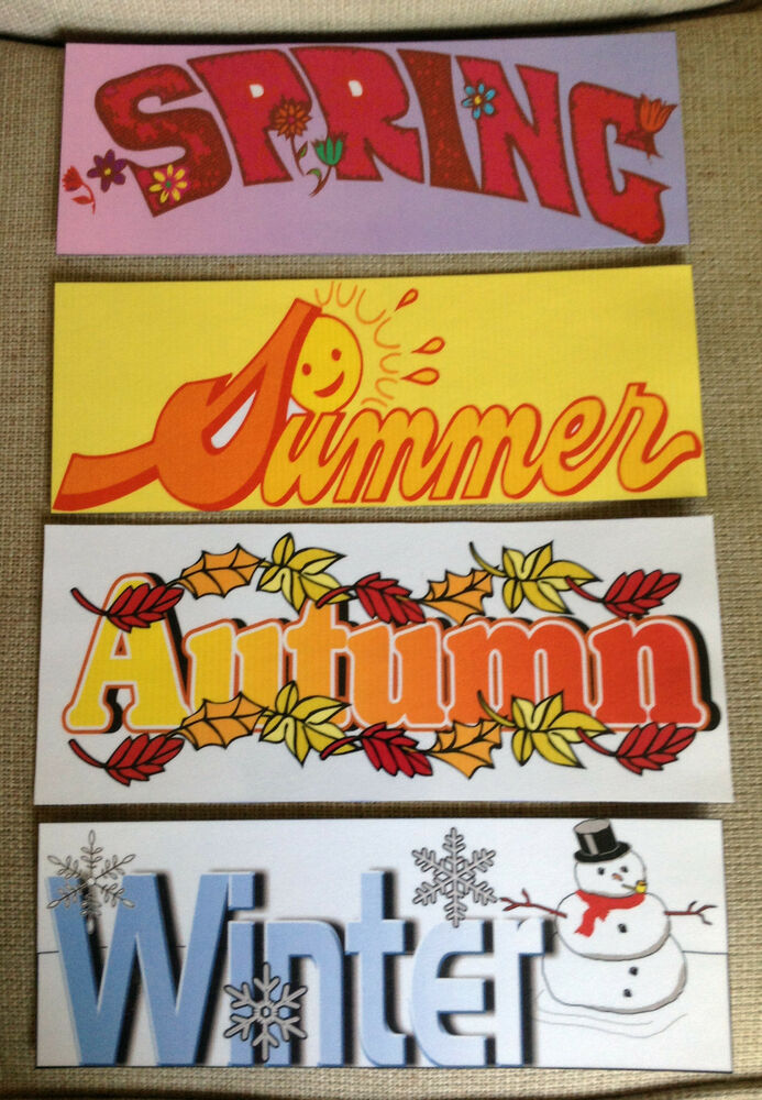 Set Of 4 Season Signs For Your Elementary Classroom Decor