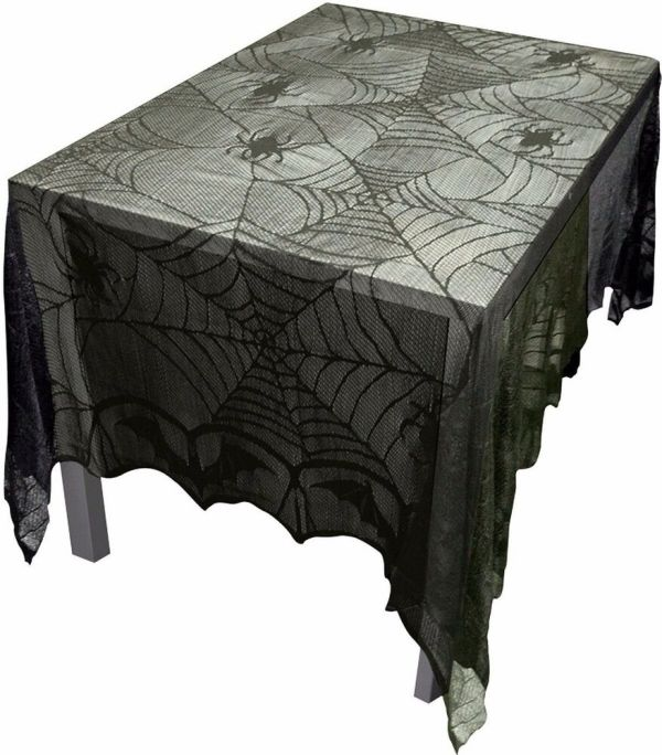 Gothic Black Lace Bat Spider Web Table Cloth Cover Topper Halloween Decor-96x48 841493074464