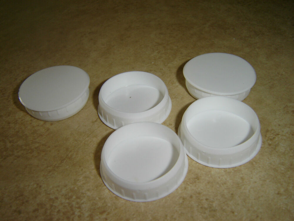 WHITE PLASTIC HINGE HOLE COVER CAPS FOR KITHCEN CABINET