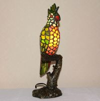 Stained Glass Tiffany Style Parrot Night Light Table Desk