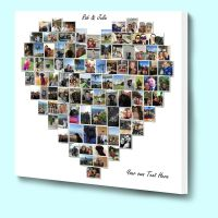 Fantasic personalised love heart shaped photo collage box ...