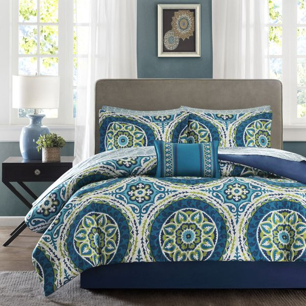 Madison Park Comforter Set Blue and Green