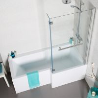 L shape square shower bath 1700 with panels, hinged screen ...