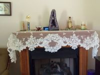 New Ivory Lace Christmas Horns Design Mantel Scarf | eBay