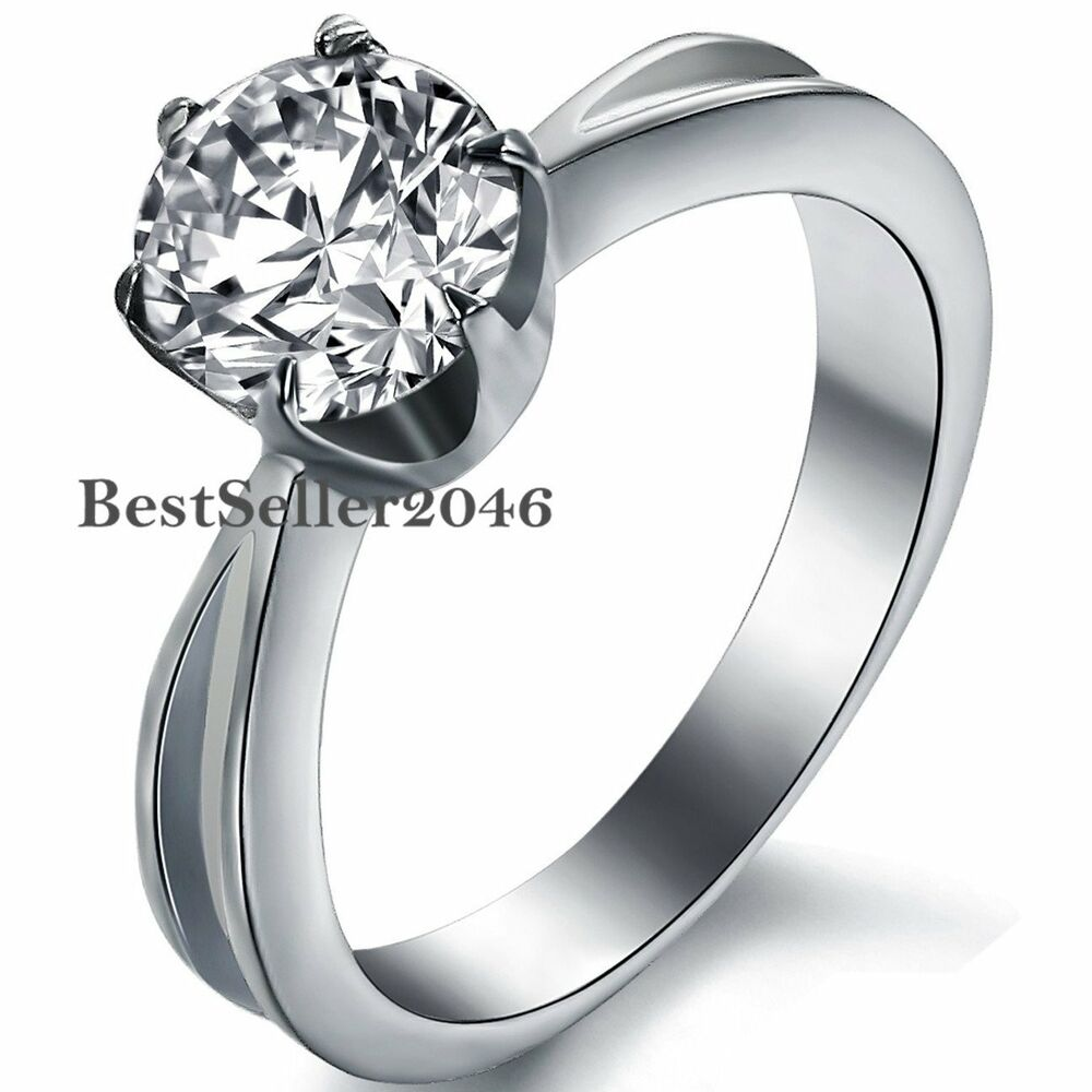 Stainless Steel 6mm Round Cz Solitaire Engagement Wedding