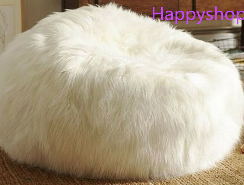 white armchair cover sporting event chairs large faux fur beanbag bean bag shaggy soft luxury lounge chair | ebay