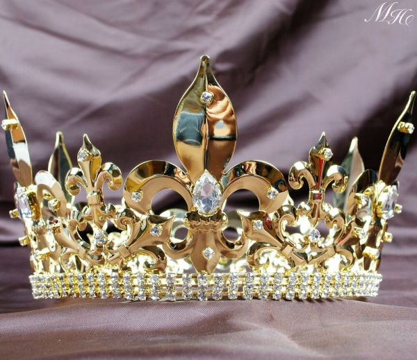 Gold Full Crowns Imperial Medieval Crystal Tiaras Pageant