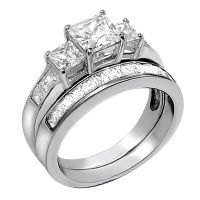 2 PCS Women Princess Cut .925 Sterling Silver Wedding ...