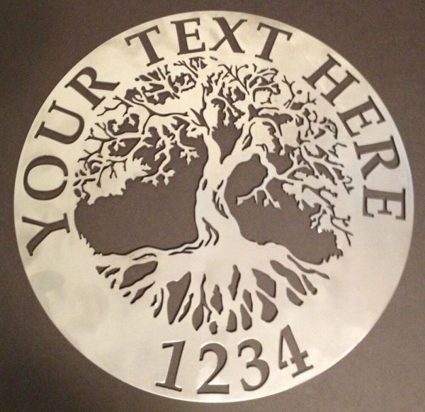 "Tree Of Life Wall Art Custom Sign 18"" Metal"